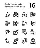 Social media, web, communication icons for web and mobile design pack 2. 16 line black and white vector icons Royalty Free Stock Photos