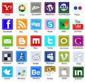 Social media  and web icon in flat square shape Royalty Free Stock Image