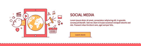 Social Media Web Page Design Flat Stock Images