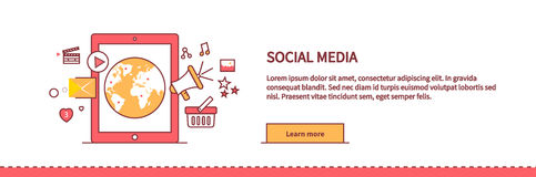 Social Media Web Page Design Flat Royalty Free Stock Images