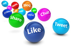 Social Media Web Signs. Web and Internet concept with social media and social network signs and words on bouncing colorful spheres isolated on white background stock illustration