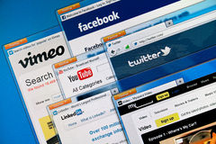 Social media web sites. On a computer screen, including Vimeo, Facebook, Youtube, Twitter, Linkedin and MySpace Stock Images