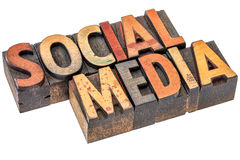 Social media in wood type Stock Images