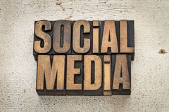 Social media in wood type Royalty Free Stock Photos