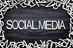 Social Media wooden letters on black board royalty free stock image