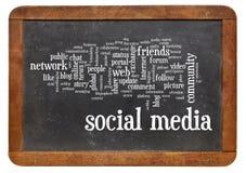 Social media word cloud on blackboard. Social media word cloud  on a vintage slate blackboard isolated on white Royalty Free Stock Image