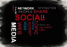 Social media word cloud royalty free illustration