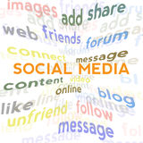 Social media word cloud Royalty Free Stock Photos