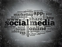 Social media word cloud typography Stock Images