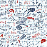 Social Media Word,Icon seamless pattern.Doodle Stock Photography