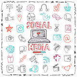 Social Media Word and Icon set.Doodle sketchy Stock Photo