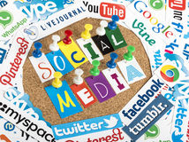 Social media words made from letters pinned to a cork bulletin board and social media website logos print Stock Photography
