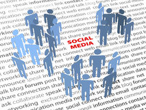 SOCIAL MEDIA words people network page text. SOCIAL MEDIA people groups network on a page of text background Royalty Free Stock Photography