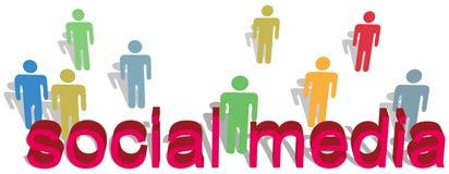 Social media words people symbol text royalty free illustration