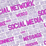 Social Media Words Seamless Pattern. Hand written seamless pattern with social media words, titles, tags and labels. Optimized for easy color changes. EPS8 Stock Photography