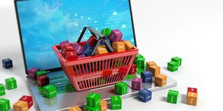 Social media words in a shopping basket. 3d illustration Royalty Free Stock Images