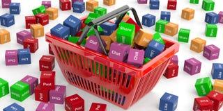 Social media words in a shopping basket. 3d illustration Stock Photos