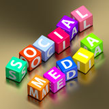 Social media words on toy blocks Royalty Free Stock Images
