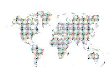 Social Media World Map Background. Isolated On White Stock Photos