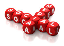 Social media written on red blocks. Social media as text on red dice or blocks on white background Stock Photos