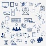 Social Media-Zeichen- und -symbolgekritzel des Handabgehobenen betrages Stockfotografie
