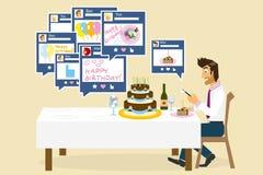 Social nätverkande och födelsedag Fotografering för Bildbyråer