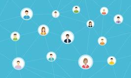 Social nätverksanslutning för online-affär stock illustrationer