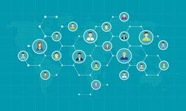 Social nätverksanslutning för online-affärsbakgrund vektor illustrationer