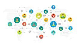 Social nätverksanslutning och kommunikation för global affär vektor illustrationer