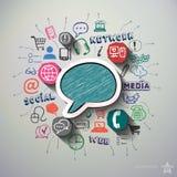 Social nätverkscollage med symbolsbakgrund Arkivfoto