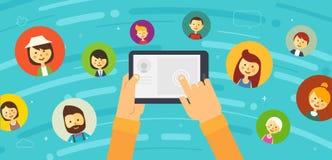 Social nätverksillustration för online-pratstund Arkivfoto