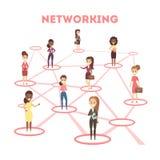 Social nätverksintrig Global anslutning mellan folk stock illustrationer