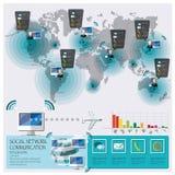 Social nätverkskommunikationsanslutning Infographic Arkivbilder