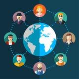 Social nätverkslägenhetillustration Arkivbild