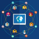 Social nätverkslägenhetillustration med avatars Arkivbilder