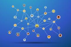 Social nätverkslägenhetillustration på blått royaltyfri illustrationer