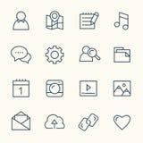 Social nätverkslinje symboler royaltyfri illustrationer