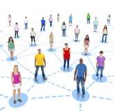 Social nätverksserie för grupp människor Arkivbild