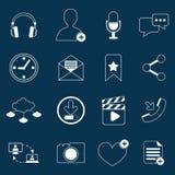 Social nätverkssymbolsöversikt Arkivfoto