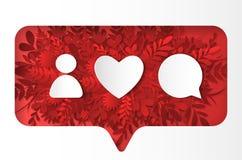 Social nätverkssymbolspacke Som kommentar, followon de röda växterna, papperssnittstil stock illustrationer