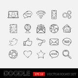 Social nätverksuppsättning för klotter Arkivbild
