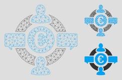 Social nätverksvektor Mesh Network Model för euro och mosaisk symbol för triangel stock illustrationer