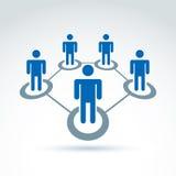 Social nätverksvektorillustration, folkförhållande Arkivbild