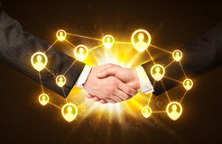 Social netwok connection handshake Stock Images