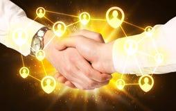 Social netwok connection handshake Stock Photo