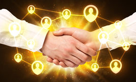 Social netwok connection handshake Stock Photo