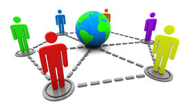 Social network. Abstract 3d illustration of people around earth, social network concept Royalty Free Stock Image