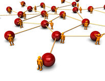 Social Network. Abstractly rendering of the social network with funny orange persons, on the white background Stock Images
