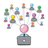 Social network 2. Man figure connecting with his social network royalty free illustration