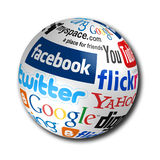 Social Network. Popular social media networks names on world globe Royalty Free Stock Image